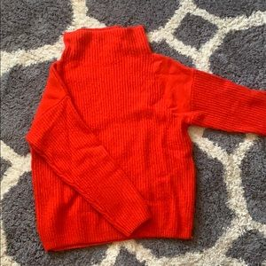 Softest trouve cowl turtle neck sweater in red